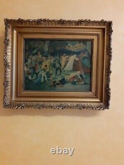 Ancien tableau peinture Massacre de la St-Barthélémy huile sur bois signé