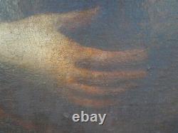 Ancien tableau peinture St Catherine Ange dlg de Vouet époque 17ème