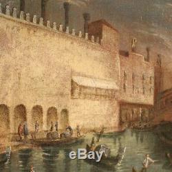 Ancien tableau peinture Venise huile sur toile avec cadre doré 800 19ème siècle