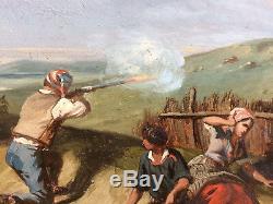 Ancien tableau peinture XIXème scène de chasse au lièvre