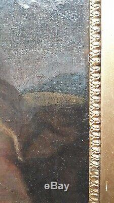 Ancien tableau peinture XVII eme ecole italienne putti saint jean baptiste