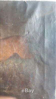 Ancien tableau peinture XVIII eme équestre cheval