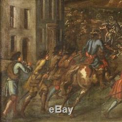 Ancien tableau peinture avec cadre bataille huile sur toile 700 18ème siècle