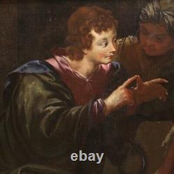 Ancien tableau peinture biblique huile sur toile religieux 700 18ème siècle