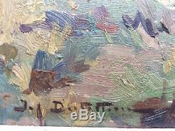 Ancien tableau peinture bord de mer signature à déchiffrer