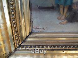 Ancien tableau peinture enfant signé E BRUN 19 eme cadre dore a la feuille