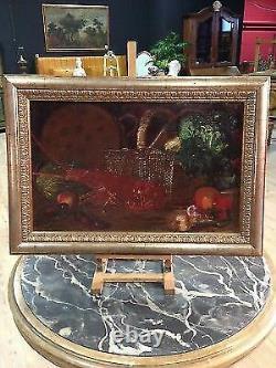 Ancien tableau peinture espagnol huile toile nature morte langouste signé 1883