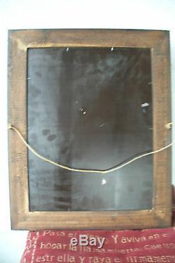 Ancien tableau peinture fixé sous verre Rocamadour signé P. Alix
