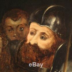 Ancien tableau peinture huile sur panneau religieux Christ couronné 700 cadre