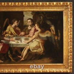 Ancien tableau peinture huile sur panneau religieux avec cadre 700 18ème siècle