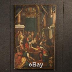 Ancien tableau peinture huile sur toile 1700 religieux présentation au Temple