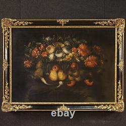 Ancien tableau peinture huile sur toile avec cadre nature morte 19ème siècle