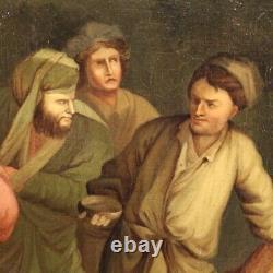 Ancien tableau peinture huile sur toile avec cadre personnages 700 18ème siècle