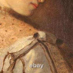 Ancien tableau peinture huile sur toile avec cadre portrait 800 19ème siècle