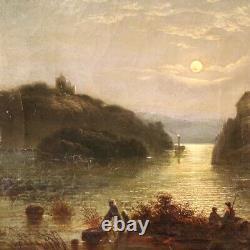 Ancien tableau peinture huile sur toile cadre paysage nocturne 800 19ème siècle