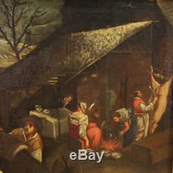 Ancien tableau peinture huile sur toile cadre scène pastorale 700 18ème siècle