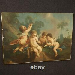 Ancien tableau peinture huile sur toile jeu d'angelots 800 19ème siècle