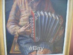 Ancien tableau peinture huile sur toile jeune garçon jouant de l'accordéon