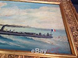 Ancien tableau peinture huile sur toile marine signé JB L'écuyer 1905 bateau