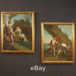Ancien tableau peinture huile sur toile mythologique Bacchus et Ariane 700