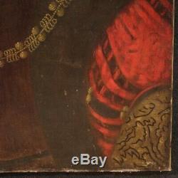 Ancien tableau peinture huile sur toile noble homme portrait XIXème siècle 800