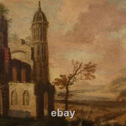 Ancien tableau peinture huile sur toile paysage avec cadre 700 18ème siècle