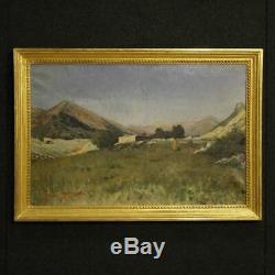 Ancien tableau peinture huile sur toile tableau paysage signé daté oeuvre 800