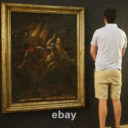 Ancien tableau peinture huile sur tole avec cadre personnages 700 18ème siècle