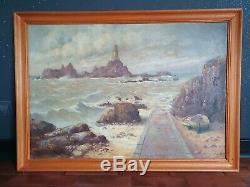Ancien tableau peinture huile/toile marine paysage français signé Pol Noel