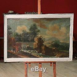 Ancien tableau peinture italien cadre huile sur toile paysage chasseurs 800 XIX