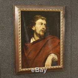 Ancien tableau peinture italien huile sur toile cadre portrait homme 800 art
