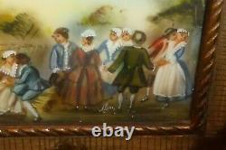 Ancien tableau peinture miniature scène de jeunes gens cadre bois sculpté signé