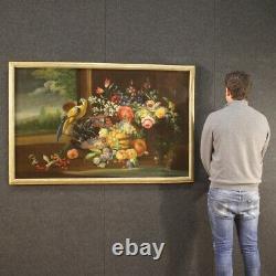 Ancien tableau peinture nature morte huile sur toile cadre 700 18ème siècle