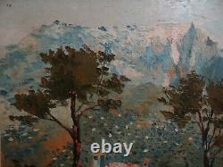 Ancien tableau peinture paysage La Sainte Victoire Aix pointillisme signe GIRAUD
