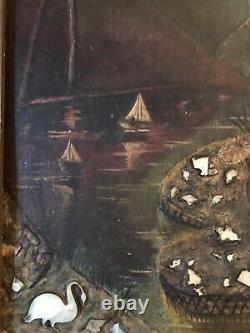 Ancien tableau peinture paysage huile sur bois, XIXe