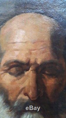 Ancien tableau peinture portrait HST exeptionnel fin XVII eme ecole italienne