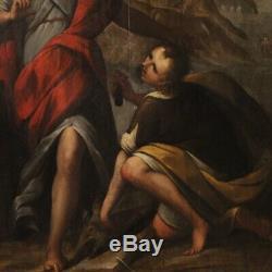 Ancien tableau peinture religieuse huile sur panneau cadre Tobie et l'Ange 600