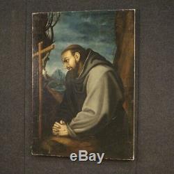 Ancien tableau peinture religieuse huile sur toile Saint François 18ème siècle