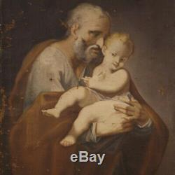 Ancien tableau peinture religieuse huile sur toile Saint Joseph Jesus 700
