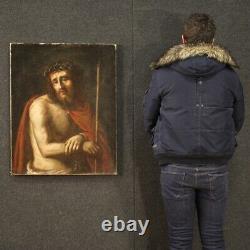 Ancien tableau peinture religieux Christ Ecce Homo huile sur toile 18ème siècle
