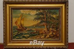 Ancien tableau peinture signé JM LORY a identifier Breton Paysage Marins Mer