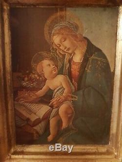 Ancien tableau peinture sur bois Botticelli VERGINE Musée Poldi Pezzoli Milano