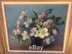 Ancien tableau peinture sur panneau bouquet signé Hippolyte Mouthier 1964