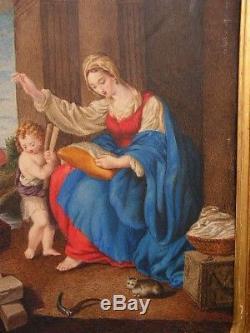 Ancien tableau peinture sur velin scene religieuse C. JANET Comte de MOSBOURG