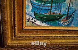 Ancien tableau port au pays basque signé Jean Roger Sourgen les landes