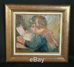 Ancien tableau portrait d'enfant signé sv Auguste Renoir Impressionnisme déb XXe