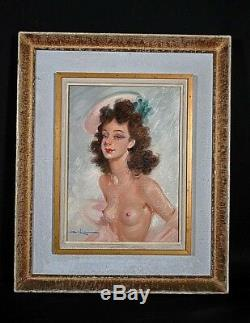 Ancien tableau portrait de femme pin-up Nu Jean gabriel Domergue signé début XXe