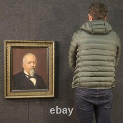 Ancien tableau portrait huile sur toile peinture avec cadre 800 19ème siècle