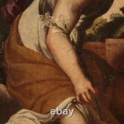 Ancien tableau religieux Annonciation peinture huile sur toile 700 18ème siècle