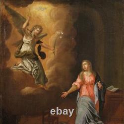 Ancien tableau religieux Annonciation peinture huile sur toile du 18ème siècle